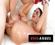 EvilAngel - Angela White Fills Ass With Oil & Dick from angela white dp markus dupree